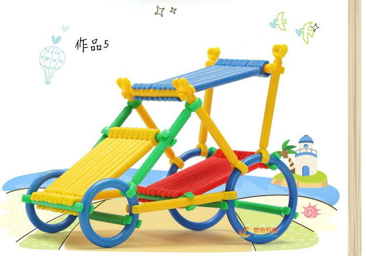 晨风玩具儿童桌面益智玩具乐高式积木环扣拼插拼图棒